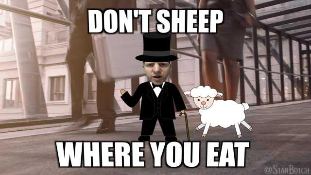Stan Botch at the office with a sheep meme: Don't sheep where you eat